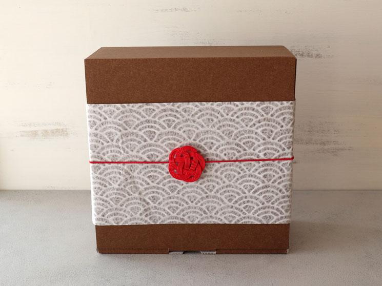 箱+和紙帯紙+水引ゴム(梅結び)